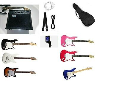 Guitarra eléctrica set pack accesorios, cursos, ampli 40w musicales, 20 rms
