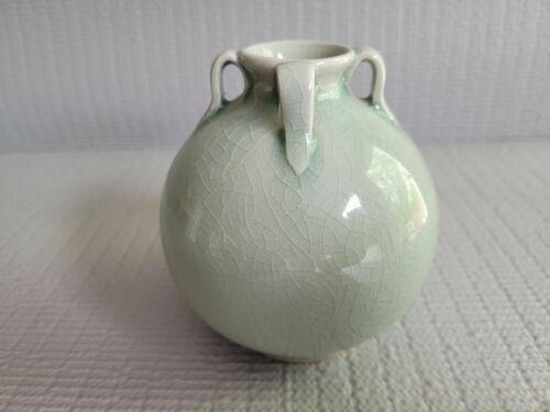 Vintage Asian Porcelain Celadon Crackled Glazed Vase Signed 4.25