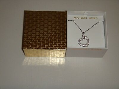 Michael Kors Women's MK Silver Tone Necklace Crystals Pave Heart MKJ6523040 +BOX