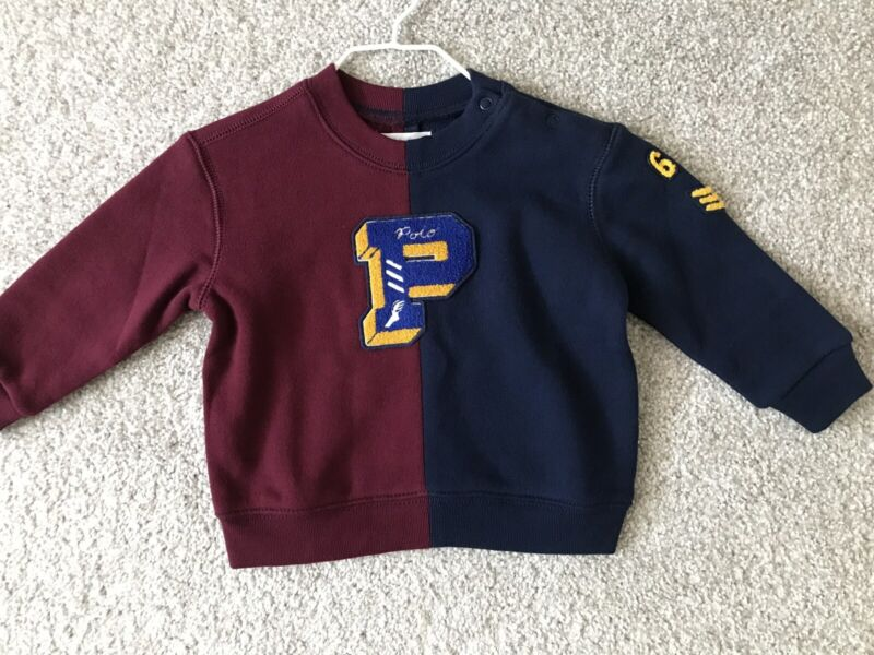 Polo Ralph Lauren infant boys navy multi rugby sweatshirt sizes 12M,18M $55