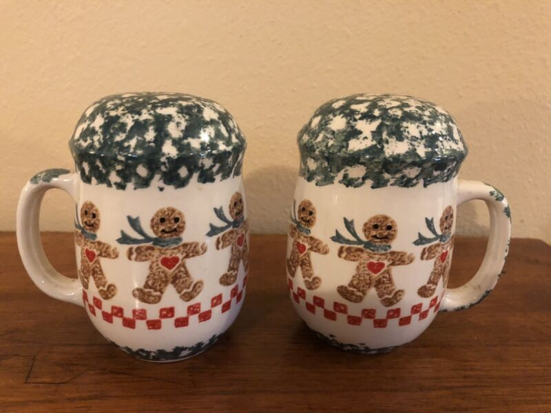 Tienshan Folk Craft Gingerbread Spongeware Salt & Pepper Shaker Set RARE-EUC