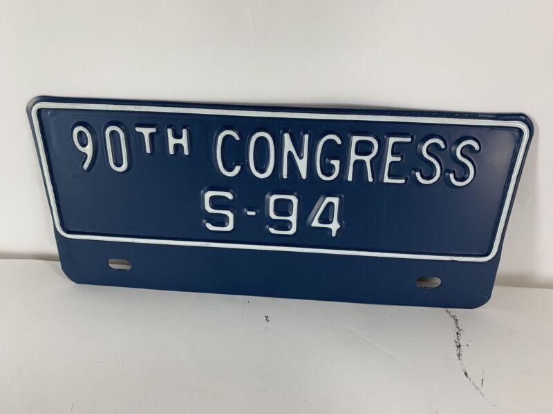 Vintage 90th Congress S-94 License Plate Topper Sign United States Senator