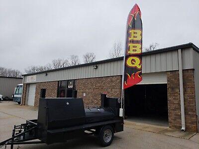 Bbq Flag Lockable Storage Doors Sink Bbq Grill Smoker Grill Trailer Food Truck