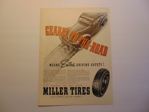 1937 MILLER TIRES Geared To The Road!  art print ad