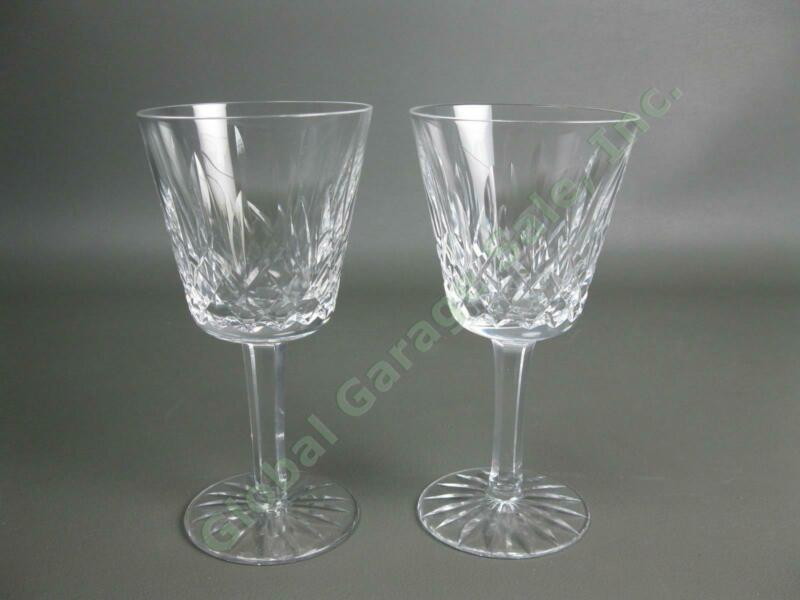 "2 Original VTG Waterford Crystal Lismore Claret Wine 5-7/8"" Goblet Cut Glass Set"