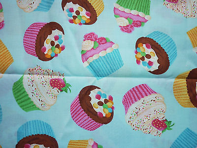 Fairy Food Candy - CLEARANCE   FQ BRIGHT FAIRY CUPCAKES CANDY FABRIC FOOD KITCHEN KITSCH TEAPARTY