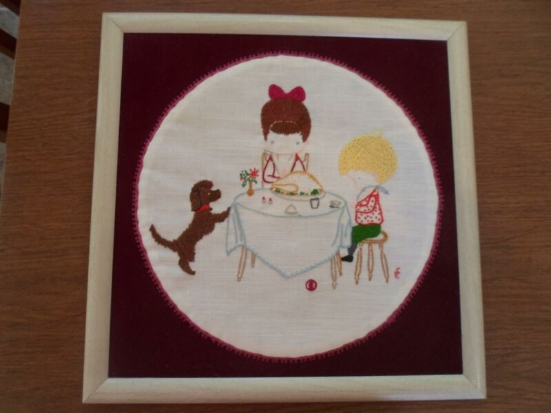 Framed 16 inch by 16 inch Hand Embroidered Children Praying at the Dinner Table
