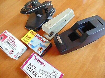 Lot Desk Office Scotch Tape Dispenser Bostitch Stapler 2-hole Punch Binder Vtg