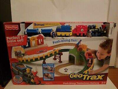 Geo Trax Push Along Timbertown Railway Fisher Price Train Set