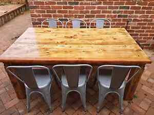 THE GREEN LOFT  - RUSTIC INDUSTRIAL TABLE + 6 NEW CHAIRS Leederville Vincent Area Preview