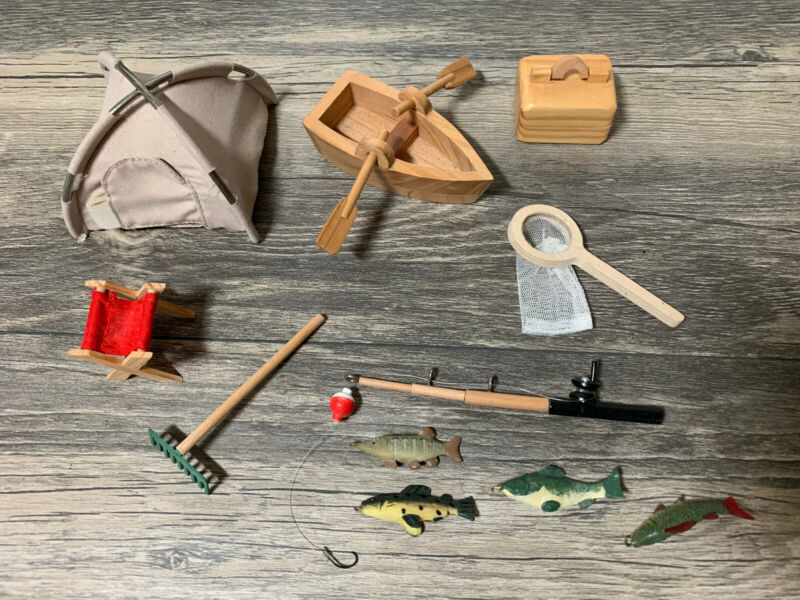 Zen/Sand/Fairy Garden Miniature Camping/Fishing Set Tent, Fishing Pole, Boat +