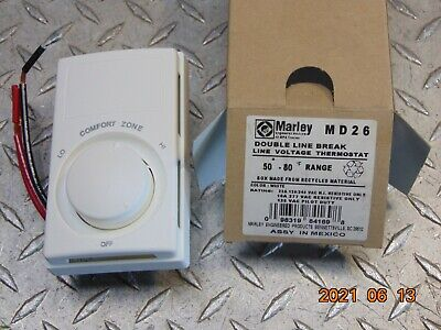 Marley Md26 Qmark Electric Line Voltage Wall Thermostat Double Line Break