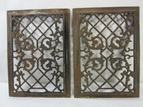2 Antique Cast Iron Floor Grates for Decor Use- Scroll & Square Design #AJ