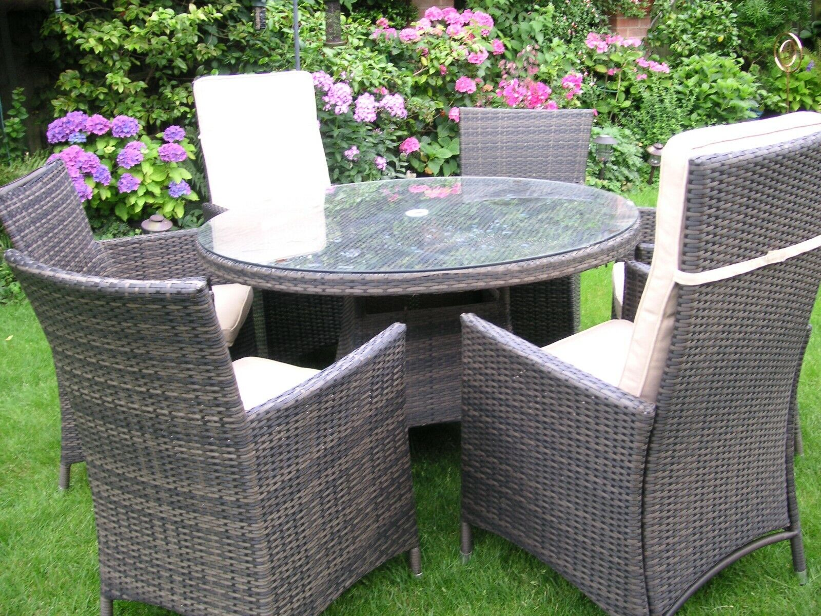Garden Furniture - 7 Piece Set Rattan Garden Furniture Table 6 Chairs 4 + 2 Recliners with cushions