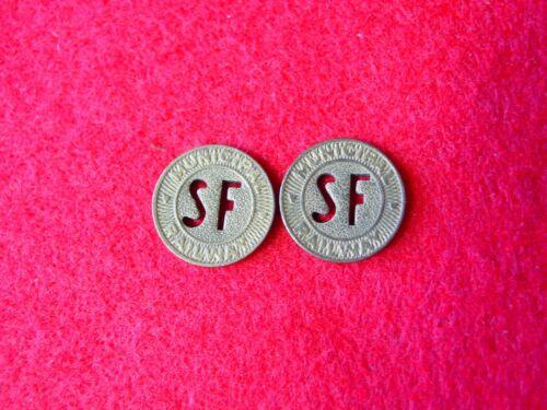 Vintage San Francisco MUNICIPAL RAILWAY transit token,   (2)