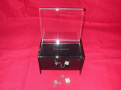 FIVE (5)  BLACK ACRYLIC DONATION/ FUNDRAISING BOX WITH PADLOCK & 2 KEYS