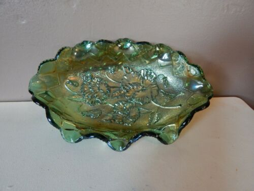 INDIANA CARNIVAL GLASS Iridescent Green Oval Shaped Candy Dish w/Floral Pattern
