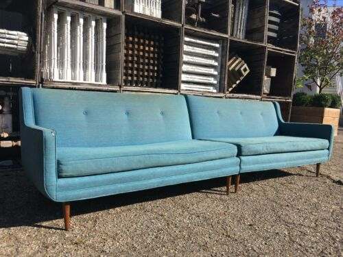Vintage 2pc Wingback Sectional Sofa 60