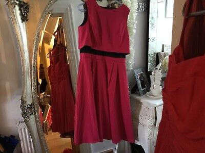 DEEP PINK SLEEVELESS PARTY PROM Special occasion dress new tags black lace under (Pink Und Black Party)