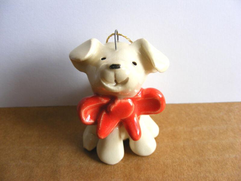 Little Guys Dog With Bow Christmas Ornament Mini Animal Cindy Pacileo Pottery