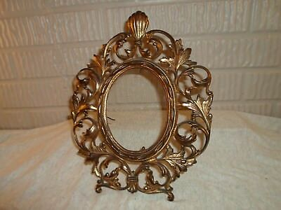 fancy Victorian metal  scroll frame with stand , 4 X 5.5 in, # 1072 - Fancy Scroll Frame