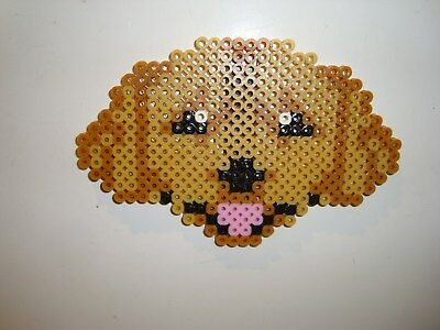 Dog Perler Bead Golden Retriever Handmade Fridge - Perler Bead Dog