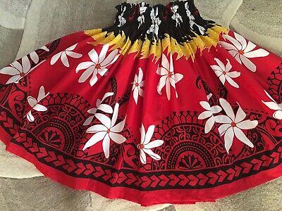 "NEW RED BLACK WHITE TIARE HAWAIIAN PAU PA'U  HULA SKIRT  28"" LONG MADE IN HAWAII](Long Hula Skirt)"