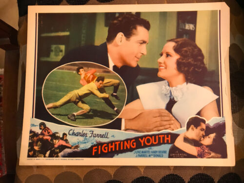 Fighting Youth 1935 Universal title sports lobbycard Charles Farrell June Martel