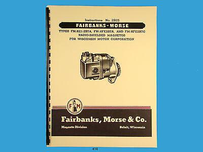 Fairbanks Morse Magneto Instruct Parts Manual For Fm-xe1-2b7a Fm-xfe2b7c 410