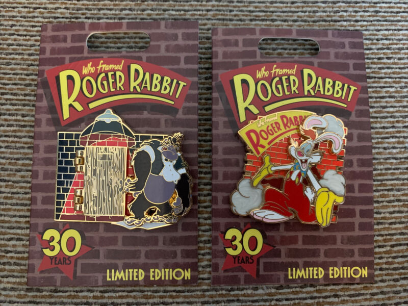 """DISNEY """"WHO FRAMED ROGER RABBIT"""" 30TH ANNIVERSARY LIMITED EDITION PIN SET"""