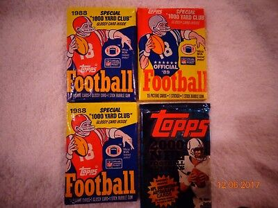 OVER 50 TOPPS  OLD FOOTBALL CARDS  PLUS BONUS PACK OF MNF CARDS!! WAX PACKS