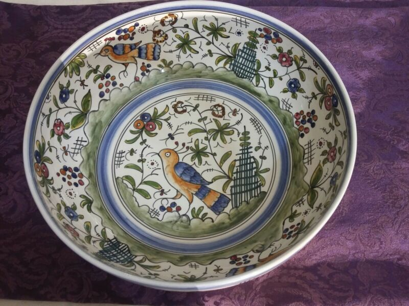 "Nazari Hand Painted Portugal CHSA FINA  #55 Large 11-3/4"" Bowl"