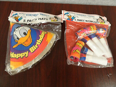 Donald Duck Birthday Party (New- Disney Donald Duck Birthday Party Hats (5 ct) and Party Blowers)