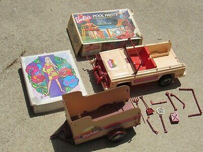 Vintage 1973 Barbie Ken Truck & Horse Trailer Set Case Pool Party LOT rare 70's