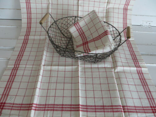2 Two   Linen Towels   Red Stripes  22  1/2   inch  by 30  inch Unused German