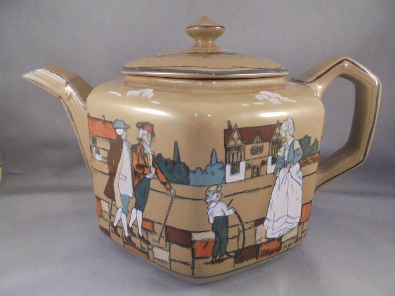 Antique Buffalo Pottery Deldare Ware Teapot Scenes of Village Life