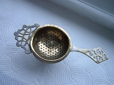 Vintage Brass Tea Strainer and Silver plated stand / drip bowl