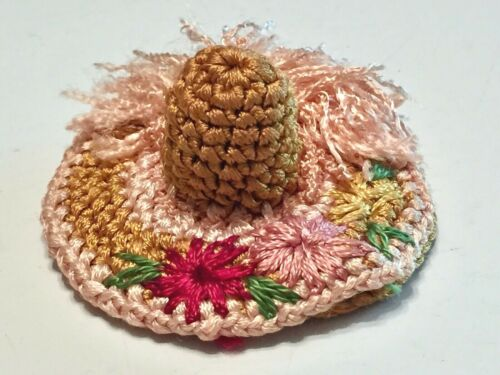 Vtg (Germany) THIMBLE Sewing NEEDLE HOLDER HAT Fancy Crocheted w/Flowers & Fluff