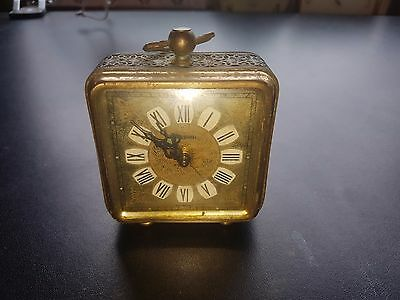 ANTIQUE  Marksman  Brass Carved Alarm Clock  West Germany