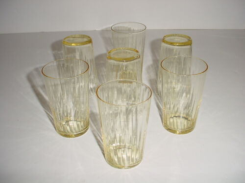 """Vintage Lot of Seven (7) Ribbed Yellow Amber Juice Tumblers Glasses - 3 1/2"""""""
