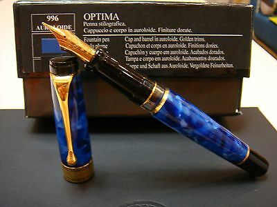 NEW〝FF nib〞FLEX AURORA OPTIMA BLUE AUROLOIDE WITH GOLD PLATED TRIM FOUNTAIN PEN