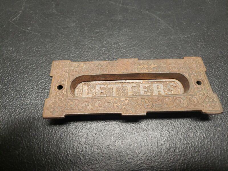 "Antique Ornate Cast Iron Office Door ""LETTERS"" Mail Slot Box Eastlake"