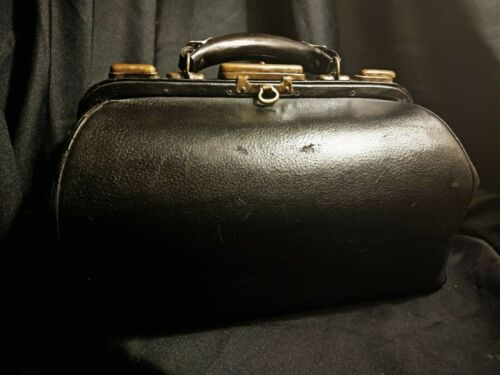 Vintage Leather Doctor Bag Antique Medicine Satchel