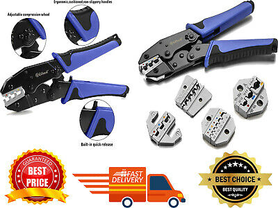 Crimping Tool Set Qibaok Ratcheting Wire Crimper Tool With 4 Pcs Interchangeable