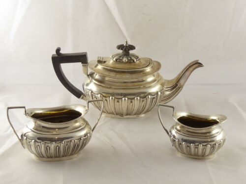 SMART ANTIQUE VICTORIAN SOLID STERLING SILVER BACHELORS TEA SET CHESTER 1900