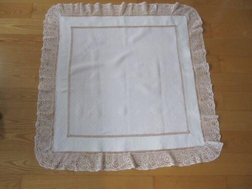 ANTIQUE EDWARDIAN WHITE LINEN TABLECLOTH 42 X 43 DRAWNWORK LACE TRIM MONO HAH