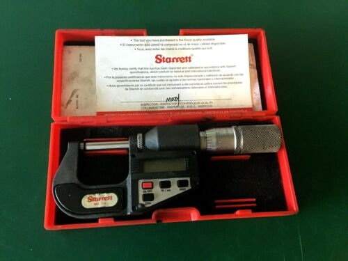 """Starrett No. 734XFL, 0-1"""" Outside Electronic Digital Micrometer with Case"""