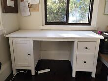 White wooden ikea hemnes desk Coogee Eastern Suburbs Preview
