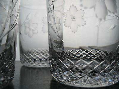 5 Stunning American Brilliant Cut Glass Crystal Tumblers Antique