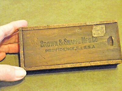 Vntg Brown Sharpe Mfg. Co. Wood Slide Top Dovetailed Micrometer Box Wmanual